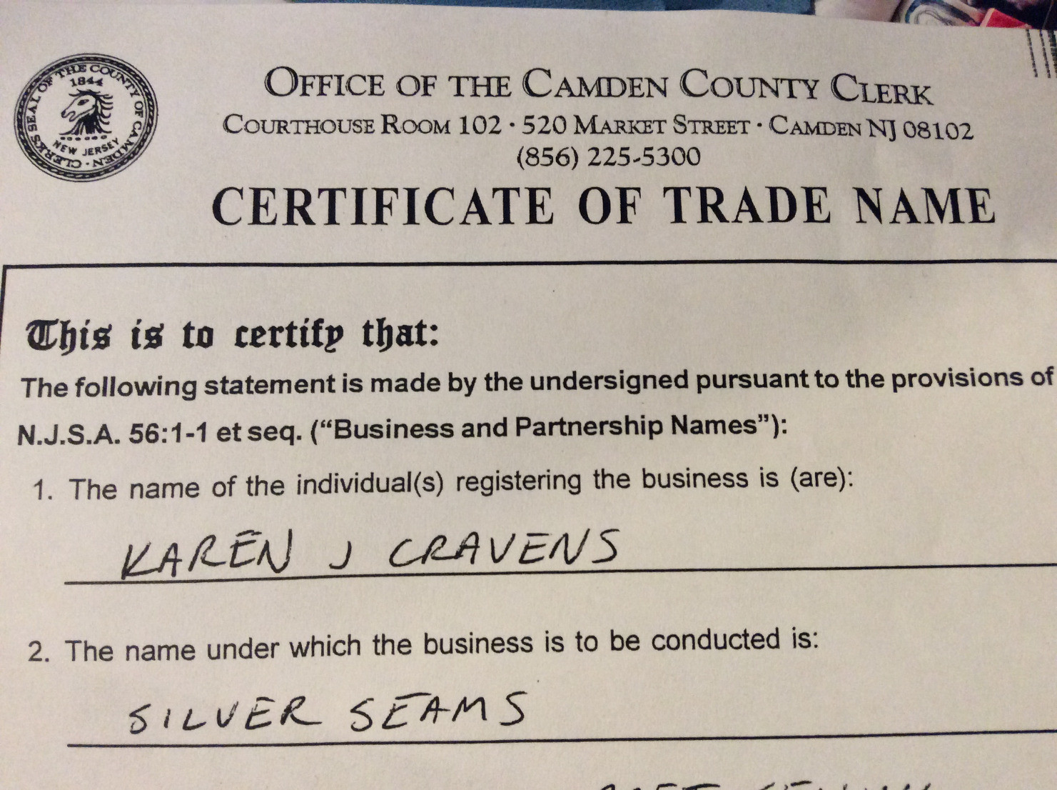 Certificate of Trade Name