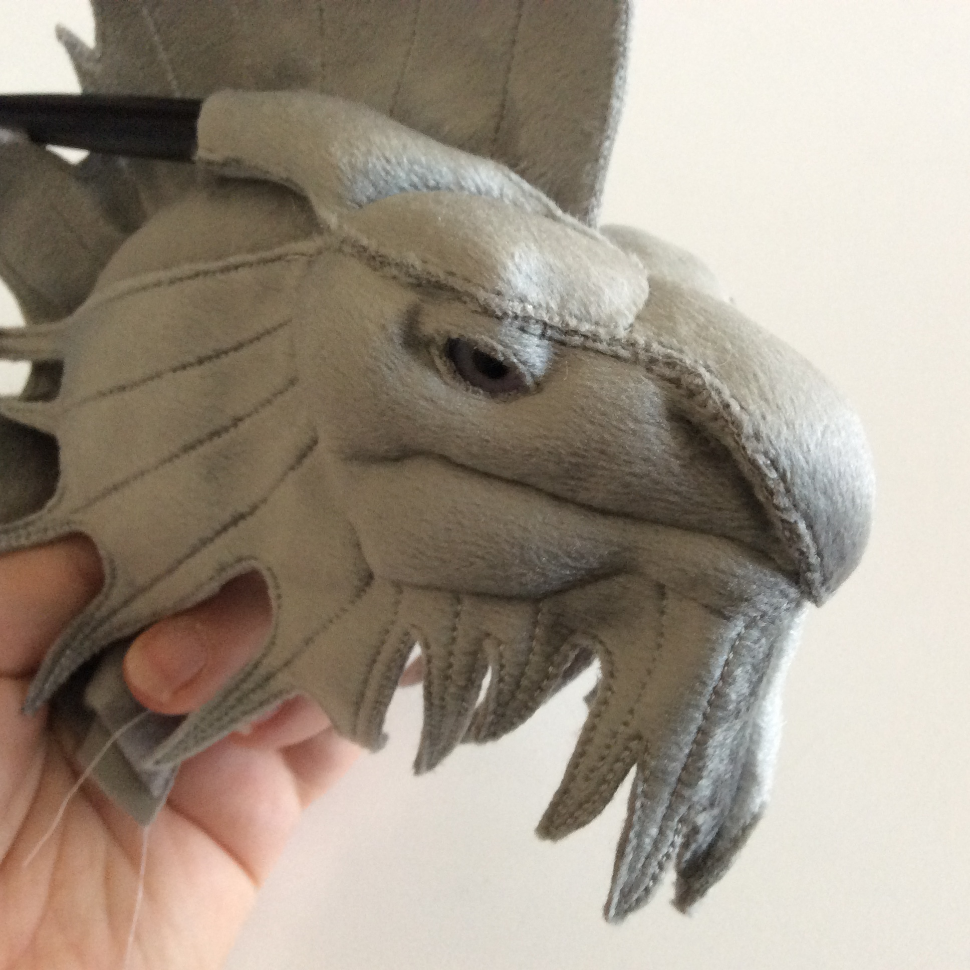 A silver dragon fabric sculpture work in progress.