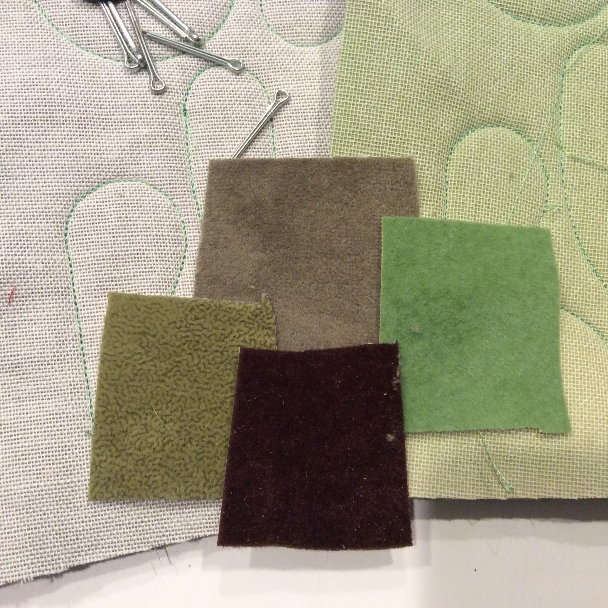 Swatches of upholstery velvet.