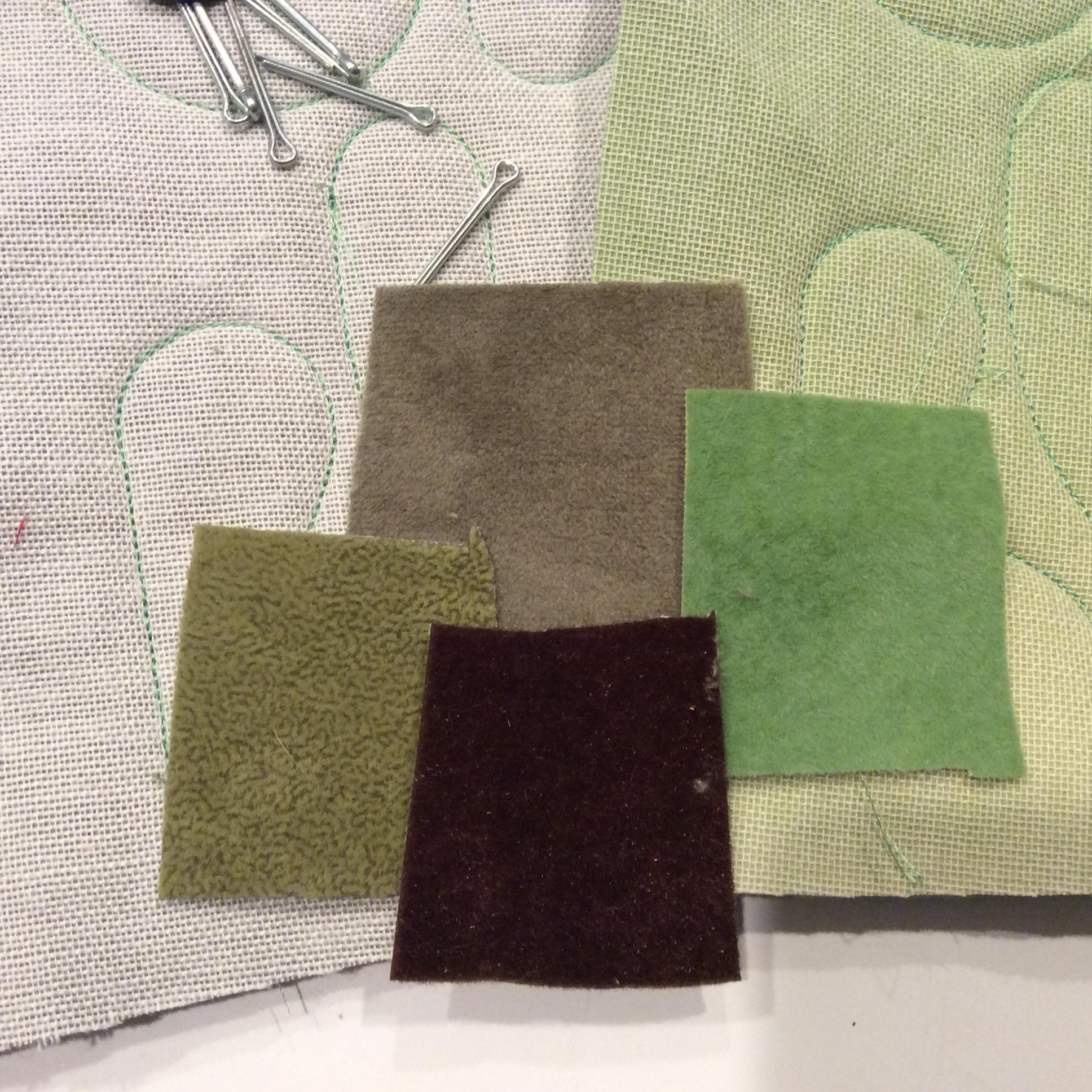 Swatches of upholstery velvet.
