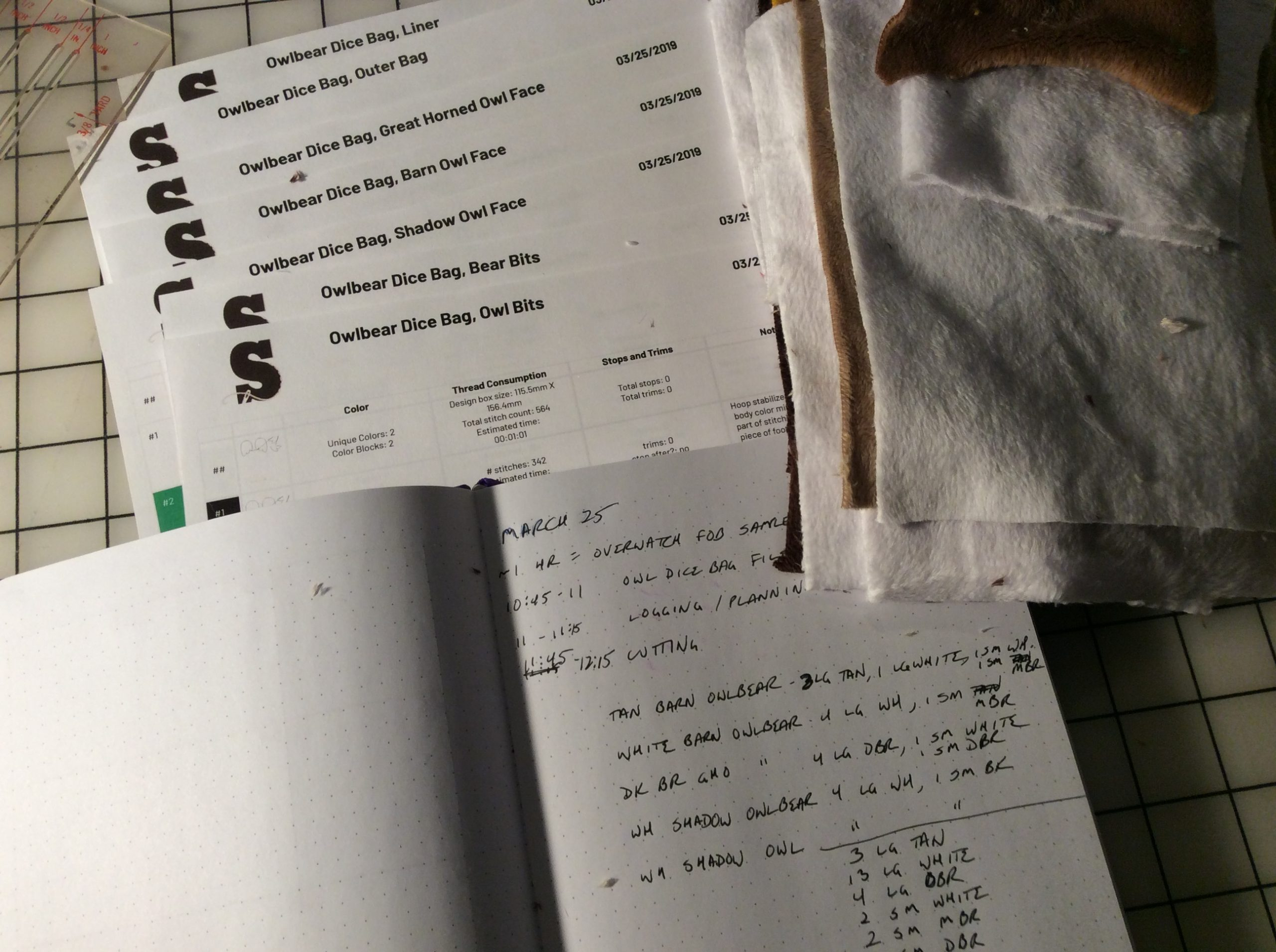 Organizing tools: a dot-grid journal, pages of sewing steps.
